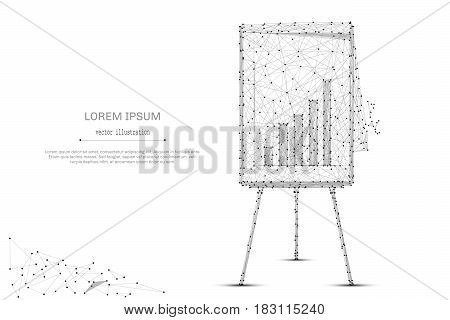 Abstract mash line and point Flip chart with diagram on white background with an inscription. Starry sky or space, consisting of stars and the universe. Vector business illustration
