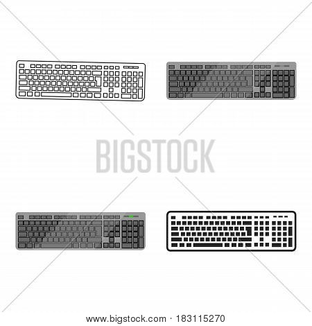 Keyboard icon in cartoon style isolated on white background. Personal computer symbol vector illustration.