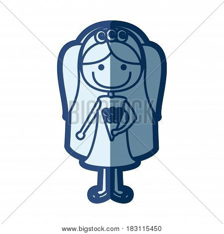 blue silhouette of caricature woman in wedding dress with pigtails vector illustration