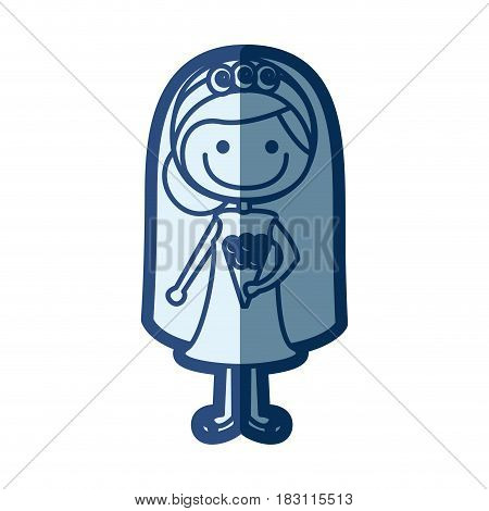 blue silhouette of caricature woman in wedding dress with collected hairstyle vector illustration