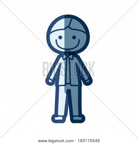 blue silhouette of caricature man in wedding suit vector illustration