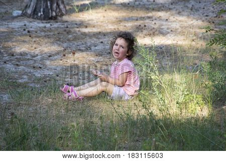 In summer in the forest a little girl is sitting on the grass and crying loudly.