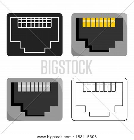 LAN port icon in cartoon style isolated on white background. Personal computer symbol vector illustration.