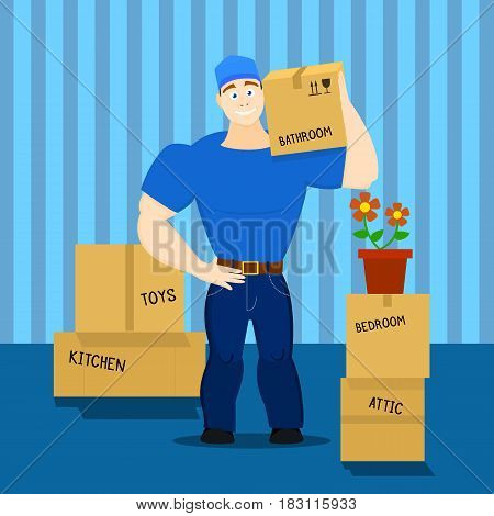 Vector cartoon illustration of a strong moving service guy loader, porter, heaver in flat design style holding a box with things EPS10