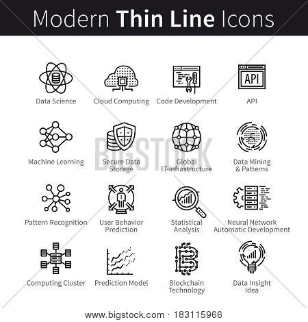 Computer science and software development. IT industry, code programming and computing technologies concept. Modern thin line art icons. Linear style illustrations isolated on white.
