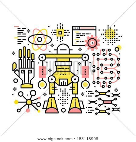 Robotic and automatization collage composition. Modern computer sciences and software development concept. Modern thin line art icons. Linear style illustrations isolated on white.