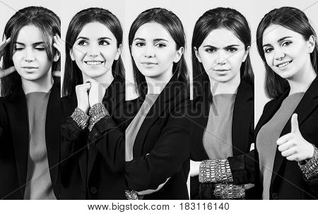 Set of young woman with different facial expressions.