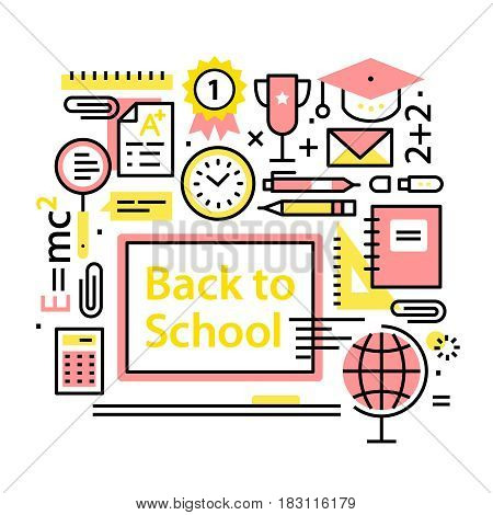 Back to school concept. Education collage. Schooling and accessories for learning. Modern thin line art icons. Linear style illustrations isolated on white.