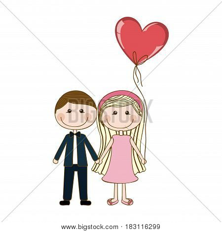 colorful caricature of couple him in formal suit with tie and her in dress with balloon in shape of heart vector illustration