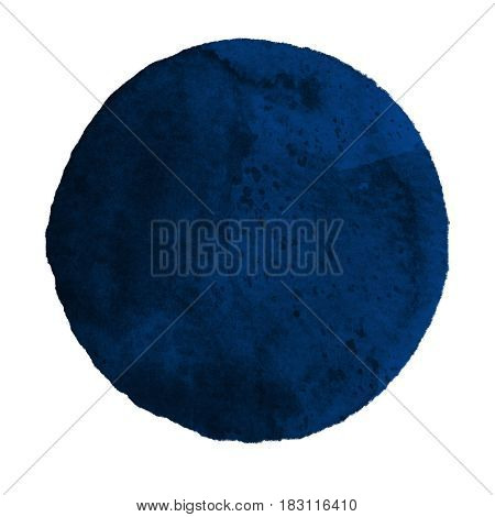 Watercolor abstract blue circle isolated on white background. Modern spot of round shape painted in watercolor in shades of navy and lapis colors. Trendy watercolour texture