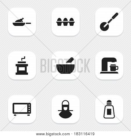 Set Of 9 Editable Cooking Icons. Includes Symbols Such As Knife Roller, Mocha Grinder, Grill And More. Can Be Used For Web, Mobile, UI And Infographic Design.