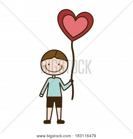 colorful caricature of smiling kid with t-shirt and short pants with balloon in shape of heart vector illustration