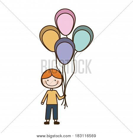 colorful caricature of smiling kid with t-shirt and pants with many balloons vector illustration