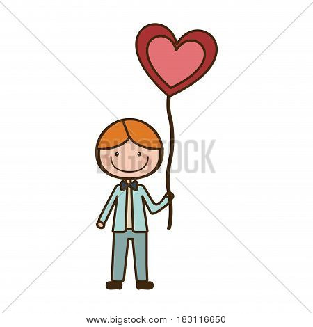 colorful caricature of smiling kid with bow tie and balloon in shape of heart vector illustration