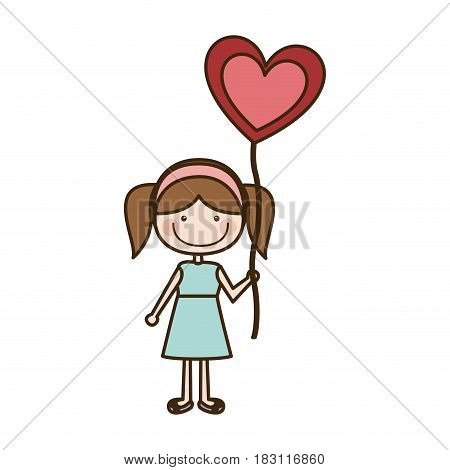 colorful caricature of smiling girl in dress with balloon in shape of heart vector illustration