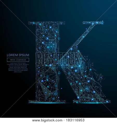 Abstract image of a the letter K of a starry sky or space, consisting of points, lines, and shapes in the form of planets, stars and the universe. Vector business