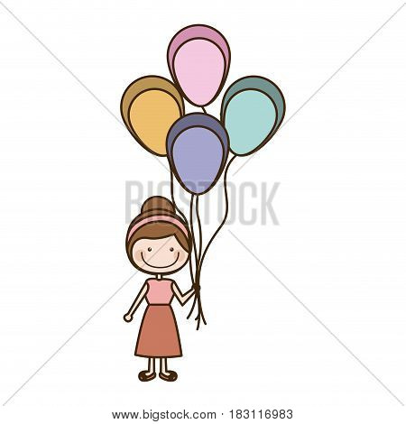 colorful caricature of smiling girl with dress and many balloons vector illustration
