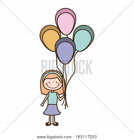 colorful caricature of smiling girl with dress and short hair and many balloons vector illustration