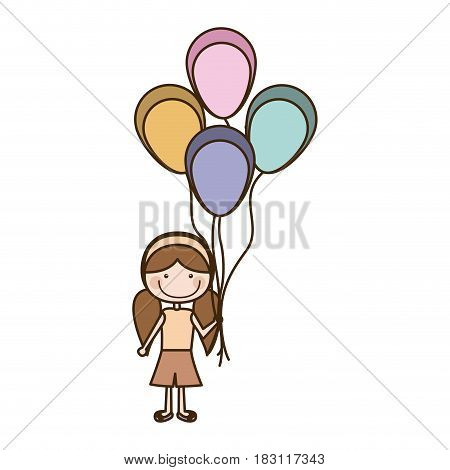 colorful caricature of smiling girl with short pants and pigtails hairstyle and many balloons vector illustration
