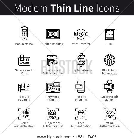 Technology for banking, payment transactions, buying, selling. Modern mobile and desktop security. Blockchain cryptocurrency. thin black line art icons. Linear style illustrations isolated on white.