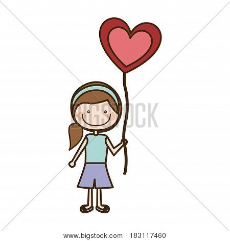 colorful caricature of smiling girl with short pants and ponytail hair and balloon in shape of heart vector illustration