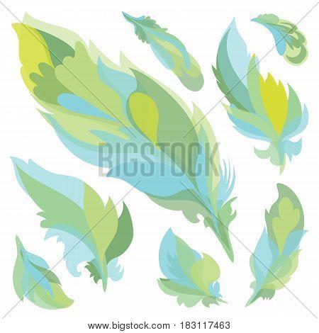 Soft light transparent boho tribal design elements set