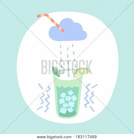 Glass of lemonade, cloud, rain of lemonade, drinking straw, mint leaf, ice cubes and slice lime. Colorful design elements for cafe or restaurant, menu, poster, and banner. Vector Illustration