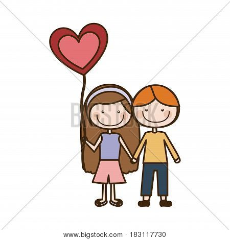 colorful caricature of couple kids in casual clothes with balloon in shape of heart vector illustration