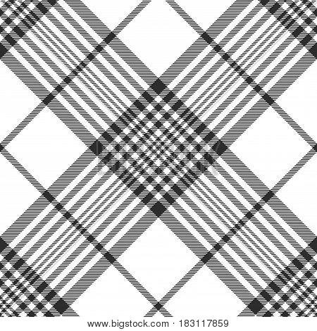 Monochrome fabric diagonal seamless texture. Vector illustration.