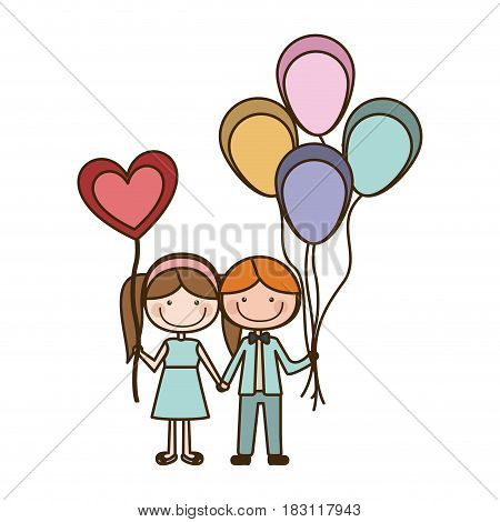 colorful caricature of boy with many balloons and her with balloon in shape of heart vector illustration
