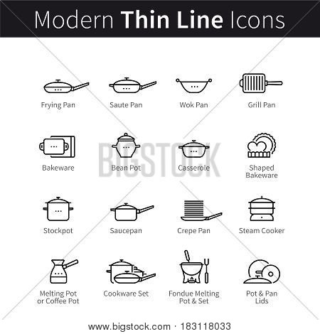 Set of kitchen utensils, pans and pots. Kitchenware for cooking, frying and baking. thin black line art icons. Linear style illustrations isolated on white.