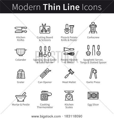 Set of kitchen cookware utensils. Equipment and kitchenware for cooking. Spatulas, knifes, openers and servers. thin black line art icons. Linear style illustrations isolated on white.