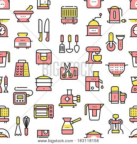 Kitchen utensils, appliances seamless texture background. Equipment, kitchenware for cooking, grilling, tea and coffee making. Modern thin line art icons. Linear style illustrations isolated on white.