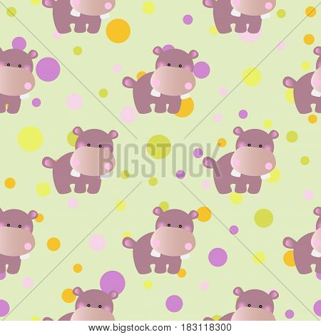 seamless pattern with cartoon cute toy baby behemoth and Circles on a light green background