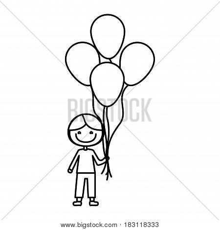 monochrome contour of caricature of smiling kid with t-shirt and pants with many balloons vector illustration