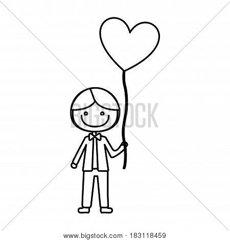 monochrome contour of caricature of smiling kid with bow tie and balloon in shape of heart vector illustration