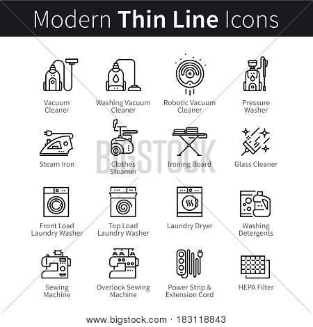 Set of electronic home household appliances, devices and technology. Housework, cleaning, vacuuming, laundry washing machines. Thin black line art icons. Linear style illustrations isolated on white.