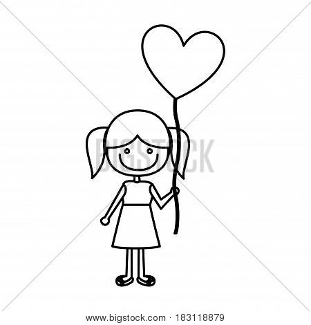 monochrome contour of caricature of smiling girl in dress with balloon in shape of heart vector illustration