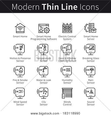 Set of electronic devices, facilities and appliances for smart home. Modern technologies. Thin line art icons. Linear style illustrations isolated on white.