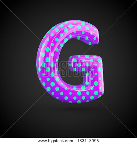 Violet Alphabet Letter G Uppercase With Blue Dots Isolated On White Background.