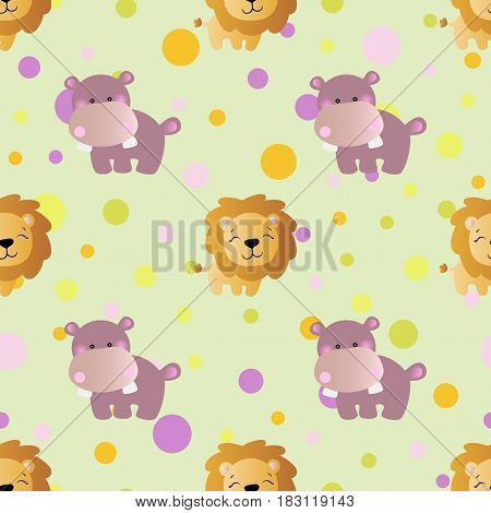 seamless pattern with cartoon cute toy baby behemoth lion and Circles on a light green background