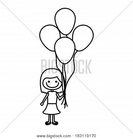 monochrome contour of caricature of smiling girl with dress and short hair and many balloons vector illustration