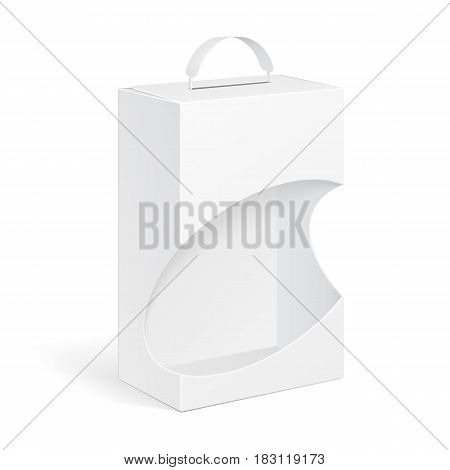 White Product Package Box With Window And Handle Illustration Isolated On White Background. Mock Up Template Ready For Your Design. Product Packing Vector EPS10