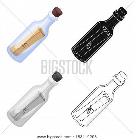 Message in the bottle icon in cartoon style isolated on white background. Pirates symbol vector illustration.