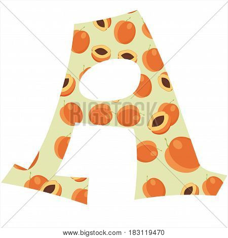 Fruity alphabet. Funny learning. Apricot letter A
