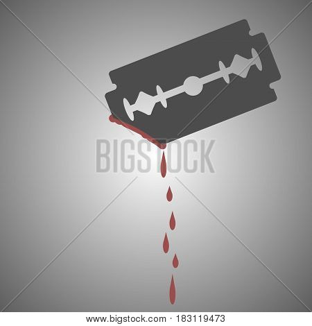 blade and blood isolated on white background. Vector illustration.