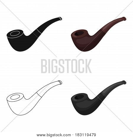 Tobacco pipe icon in cartoon style isolated on white background. Pirates symbol vector illustration.