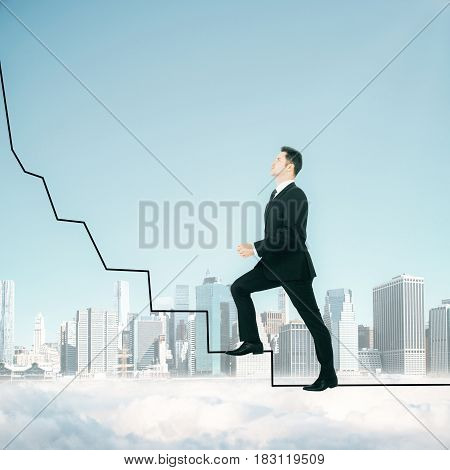 Side view of young businessman climbing abstract drawn ladder above clouds on city and sky background. Success concept