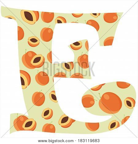 Fruity alphabet. Funny learning. Apricot letter E