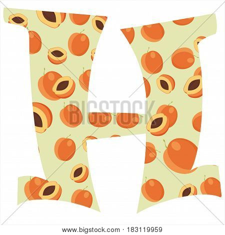 Fruity alphabet. Funny learning. Apricot letter H